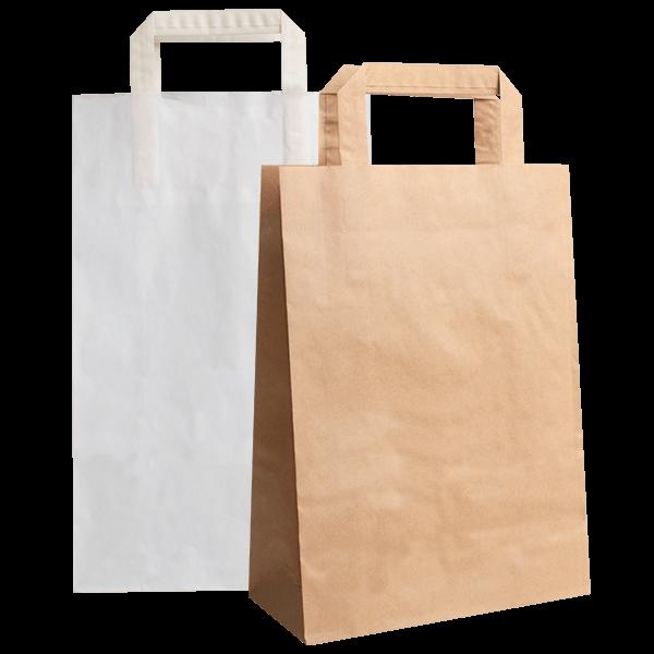 Papiertragetaschen mit gefaltetem Papierhenkel -  auch mit breitem Boden