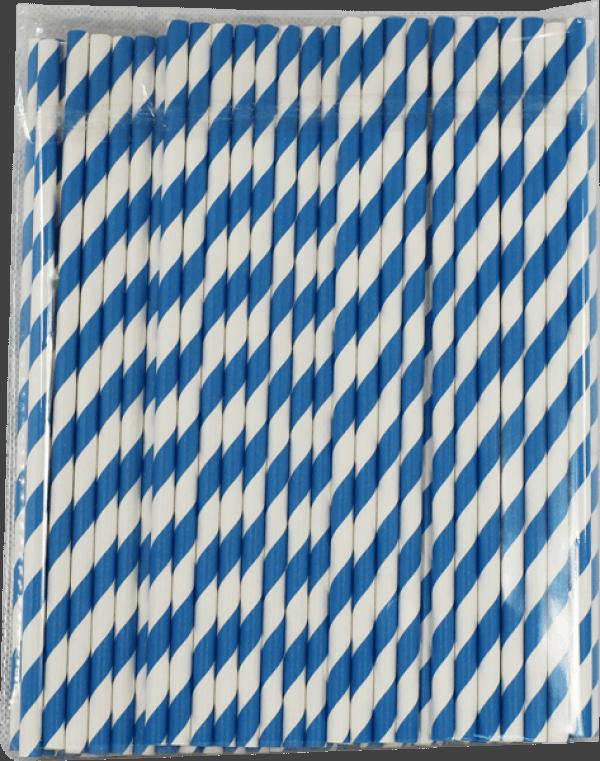 Papiertrinkhalme blau-weiß gestreift